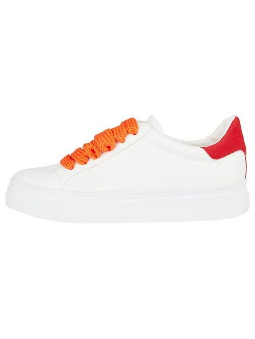 Sneakers blancos con cordones naranjas para mujer de la colección de Primavera-Verano 2018 de Esprit