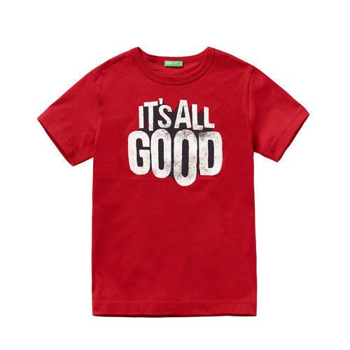 Camiseta roja 'It's all good' para niño de la colección de Primavera 2018 de Benetton.