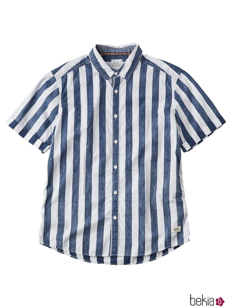 Camisa de manga corta a rayas para hombre de la colección de Primavera-Verano 2018 de Esprit