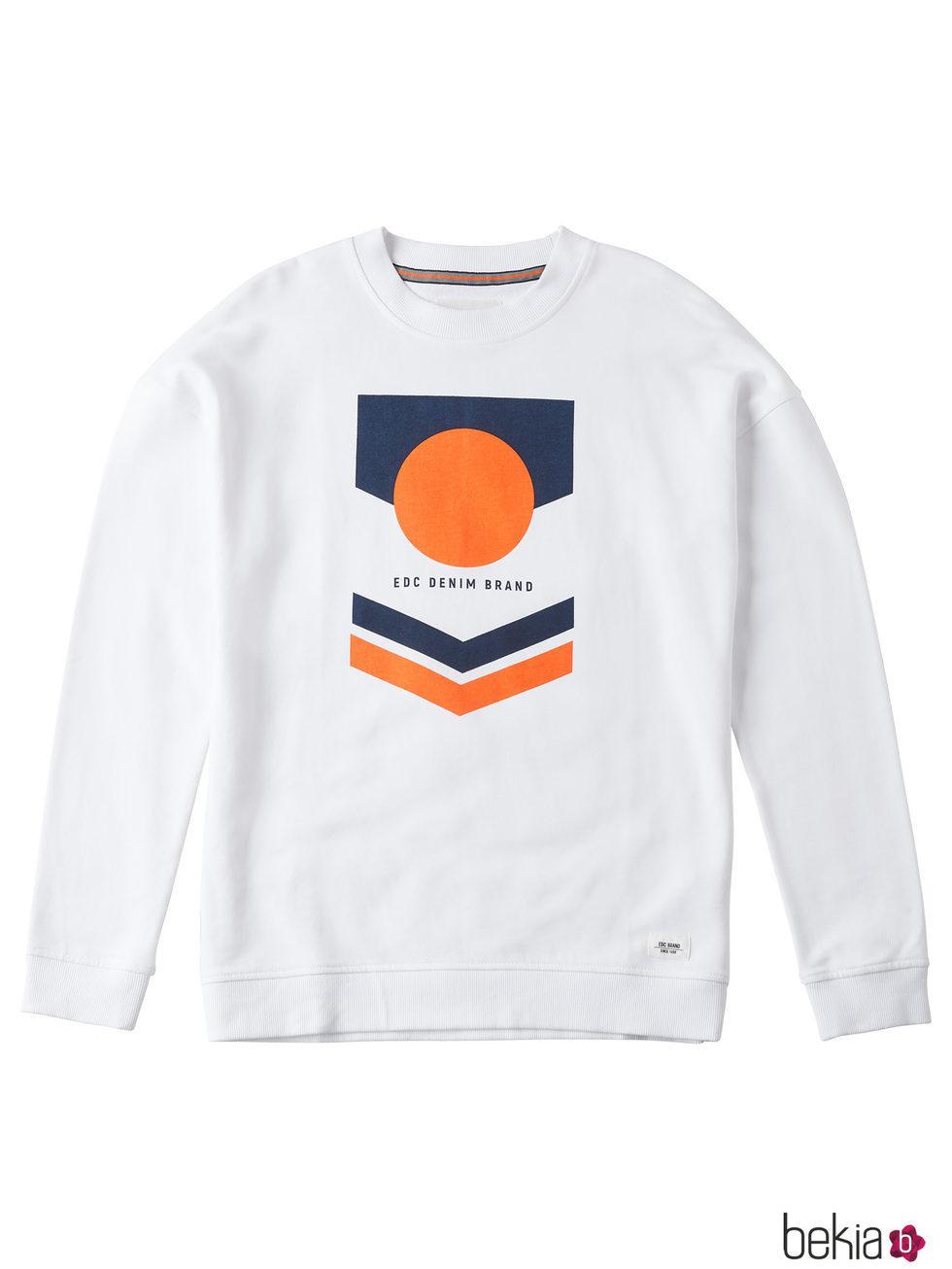 Sudadera blanca con dibujo para hombre de la colección de Primavera-Verano 2018 de Esprit
