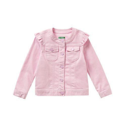 Cazadora vaquera rosa para niña de la colección de Primavera 2018 de Benetton