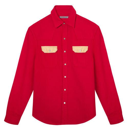 Camisa masculina roja de Calvin Klein de la colección primavera jeans 2018