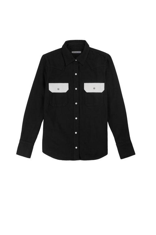 Camisa negra femenina de Calvin Klein de la colección primavera jeans 2018