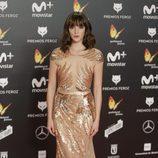 Susana Abaitua con un vestido de transparencias dorado en los Premios Feroz 2018