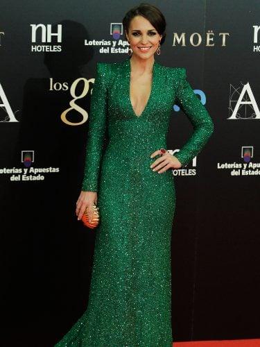 Paula Echevarría vestida de Dolores Promesas en los Premios Goya 2013