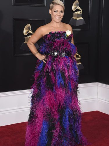 Pink con un traje de plumas multicolor