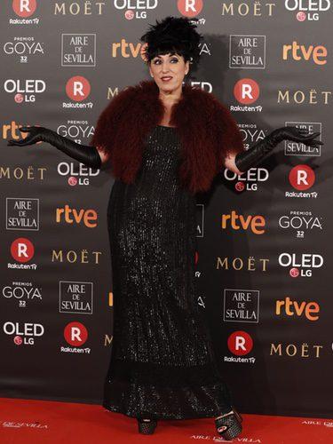 Rossy de Palma con un vestido de paillettes en la alfombra roja de los Premios Goya 2018