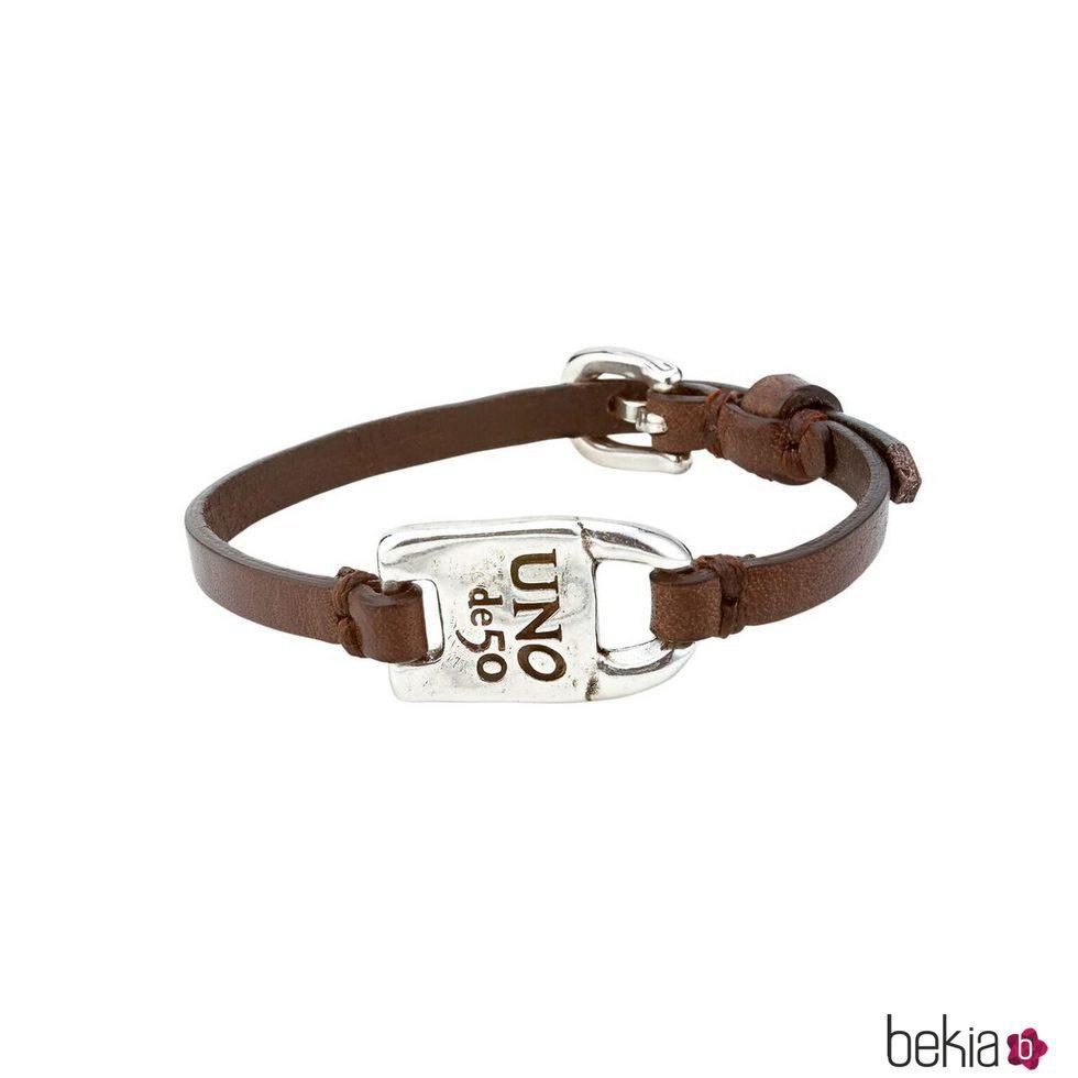 Pulsera de plata y cuero marrón de la colección UNOde50 para San Valentín Genderless