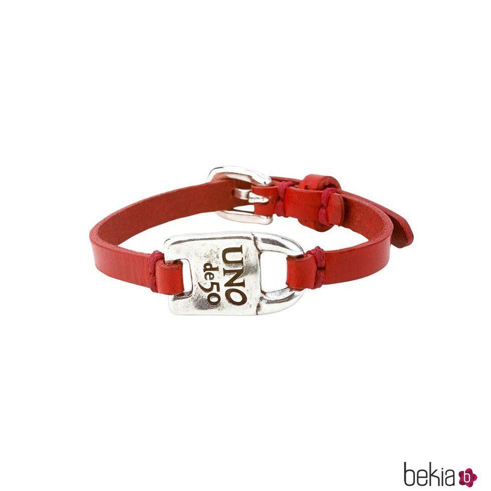 Pulsera de plata y cuero rojo de la colección UNOde50 para San Valentín Genderless