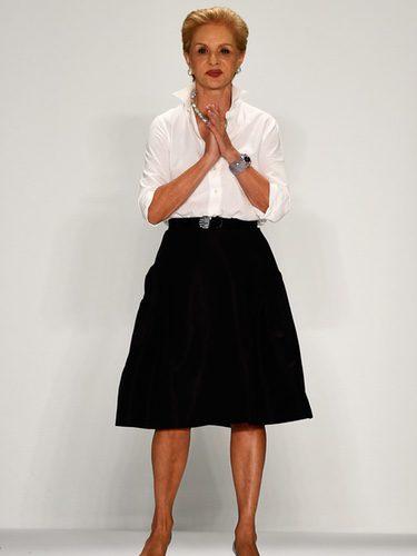 Carolina Herrera tras su desfile en la Nueva York Fashion Week primavera/verano 2015
