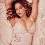 Body lencero en tono nude por la modelo Joann Van Den Herik para la firma Debenhams 2018