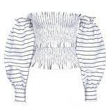 Blusa blanca a rayas negras con mangas oversize de Pinko 2018