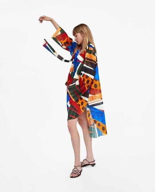 Camison de estampado de colores geométricos de la Nueva Colección de Zara 2018