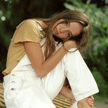 Conjunto de peto blanco con camiseta de rayas de la Nueva Colección