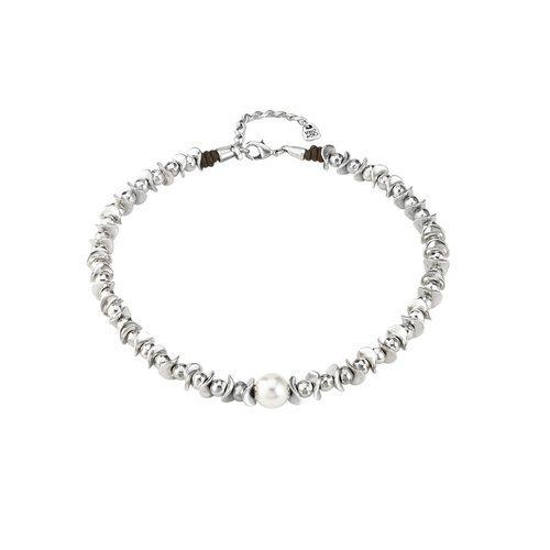 Gargantilla plateada sencilla con una perla blanca de Unode50 primavera/verano 2018