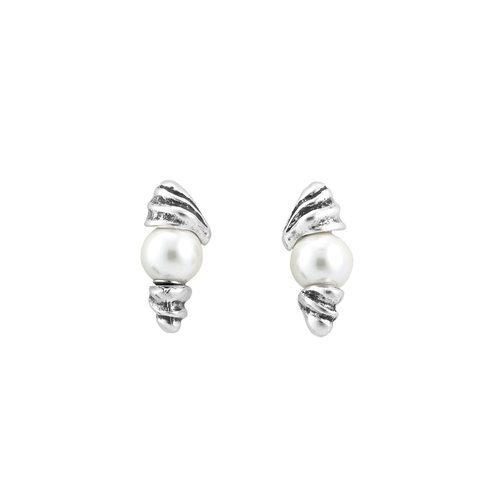 Pendientes plateados con perlas incrustadas de Unode50 primavera/verano 2018