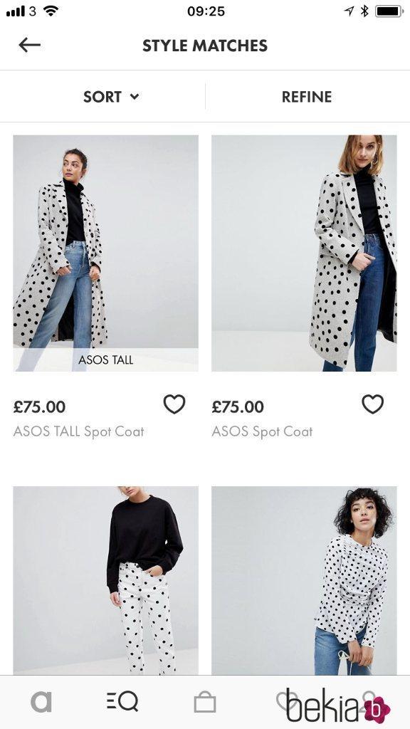 Abrigo blanco con topos negro de Asos ejemplo para su nueva aplicación Style Match 2018