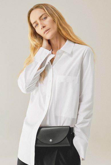 Blusa blanca de manga larga de la nueva colección atemporal de Cos 2018