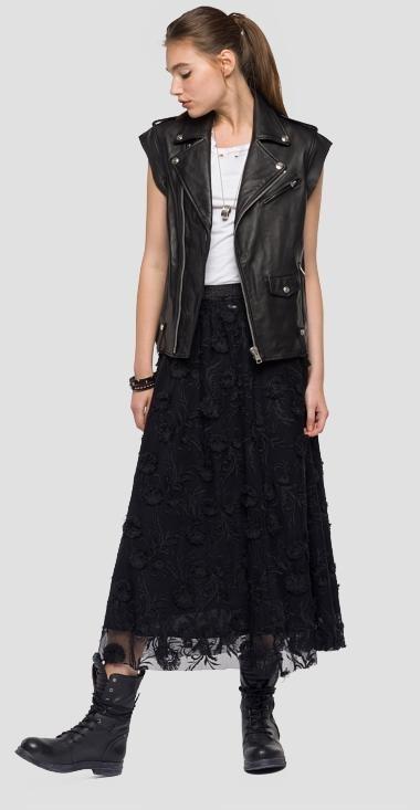 Chaleco en color negro de cuero de la nueva colección primavera/verano 2018 de Replay