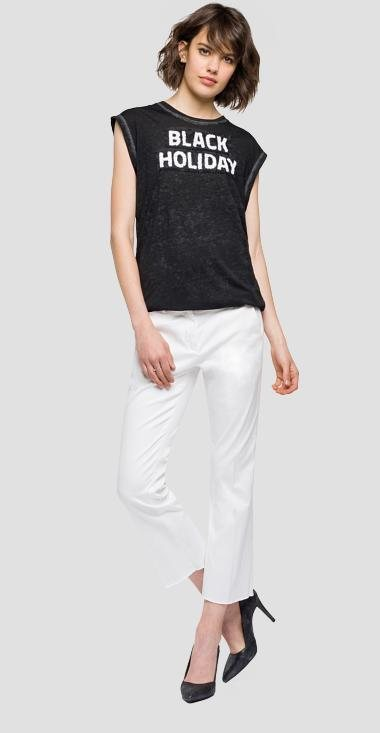 Camiseta negra de tirantes de mujer de la nueva colección primavera/verano 2018 de Replay