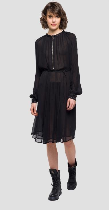Vestido midi en color negro de la nueva colección primavera/verano 2018 de Replay