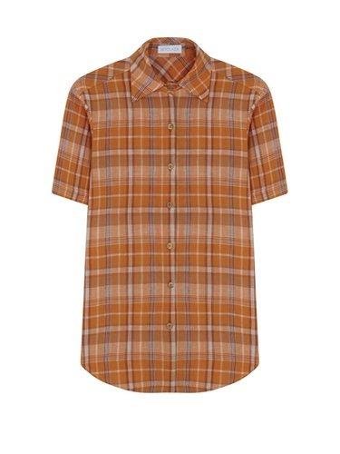 Camisa de mujer de cuadros naranjas de la nueva coleccion primavera/verano 2018 de Betolaza