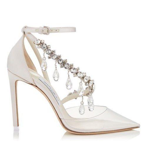 Zapatos de tacón de satén con cristales en las tiras de Jimmy Choo Bridal 2018
