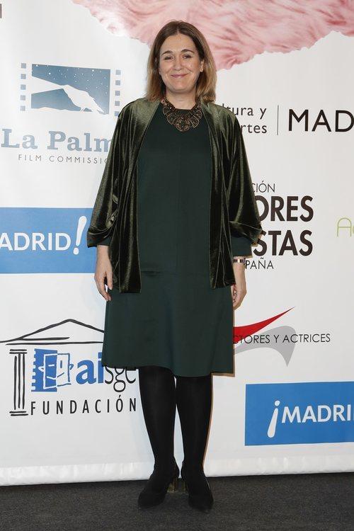 Marta Rivera conun vestido verde y medias engras en los premios Unión de Actores y Actrices 2018 en Madrid