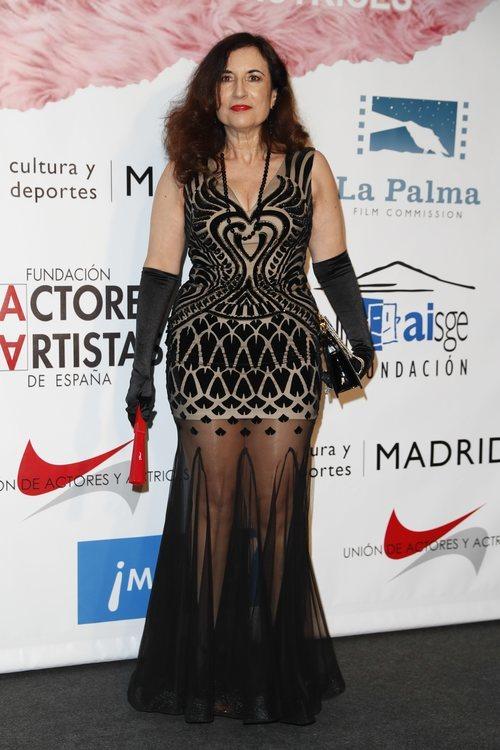 María del Prado con un vestido transparente y guantes negros en los premios Unión de Actores y Actrices 2018 en Madrid