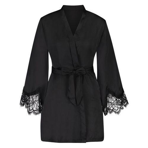 Camisón negro con las mangas abullonadas de Hunkermöller primavera/verano 2018