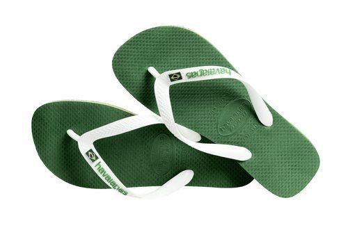 Chancla en color verde con la tira en color blanco de los nuevos diseños de Havaianas Brasil Layers 2018
