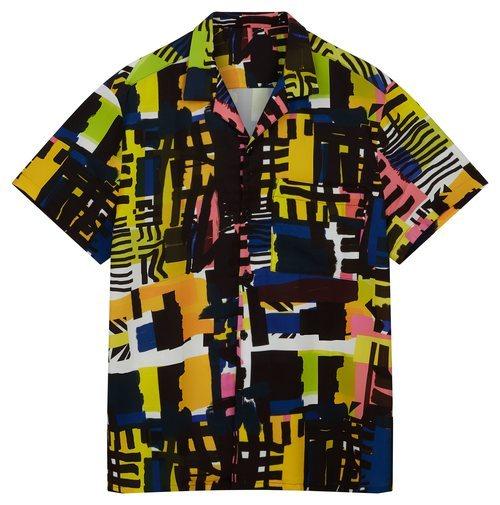 Camisa de hombre con estampado de figuras geométricas asimétricas de colores de la nueva colección de Asos Madre in Kenia 2018