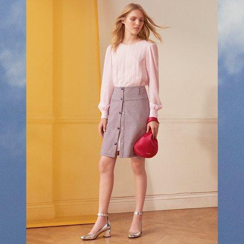 Blusa rosa a rayas con las mangas abullonadas de la nueva colección de MAX&Co primavera/verano 2018