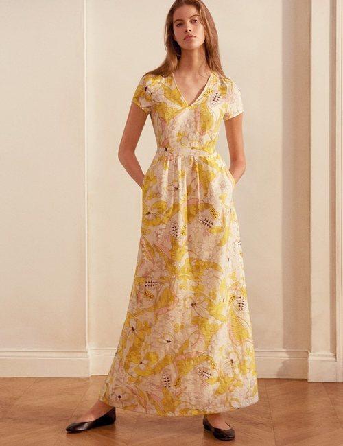 Vestido vaporoso de estampado floral amarillo y blanco de la nueva colección de MAX&Co primavera/verano 2018