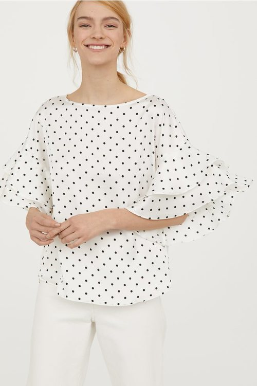 Blusa de mangas acampanadas de la nueva colección de primavera de H&M