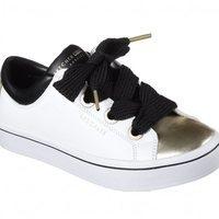 Zapatillas blancas con detalles metalizados y cordones XXL de Skechers Street 2018