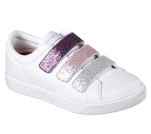 Zapatillas blancas con las tiras de brillantes de Skechers Street 2018