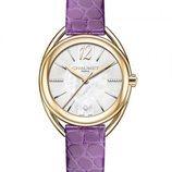 Reloj de piel de cocodrilo teñida de morado de la colección Liens Lumière de Chaumet