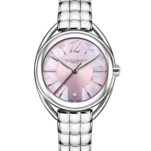 Reloj plateado con la esfera rosa de la colección Liens Lumière de Chaumet