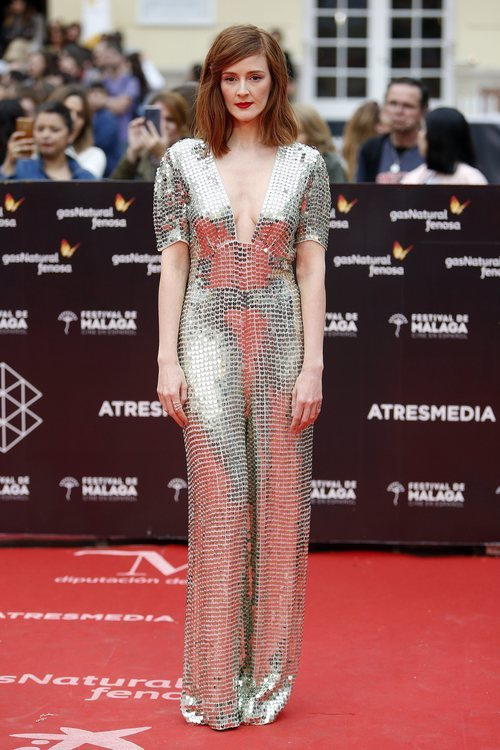 Ana María Polvorosa con un vestido brillante en el Festival de Cine de Málaga 2018