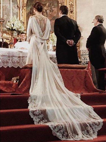 Vestido de Irene Salido con el que Laura Ponte ha debutado en la moda nupcial