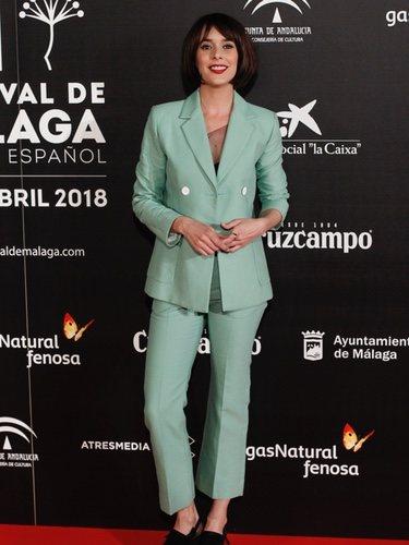 Belén Cuesta con un traje color verde menta en el Festival de Cine de Málaga 2018