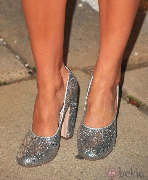 Block heels glitter plateados de Miu Miu