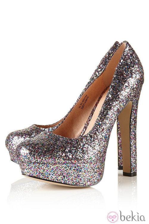 Zapatos block heels de Topshop en glitter plateado