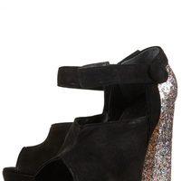 Zapatos block heels de Topshop en ante negro y tacón glitter plateado