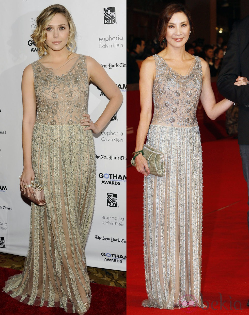 Lizzie Olsen y Michelle Yeoh con el mismo Valentino