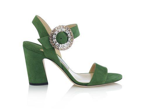 Sandalia en color verde de la colección pre-fall 2018 de Jimmy Choo