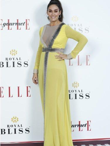 Vicky Martín Berrocal con un vestido amarillo en los premios Elle Gourmet en Madrid 2018