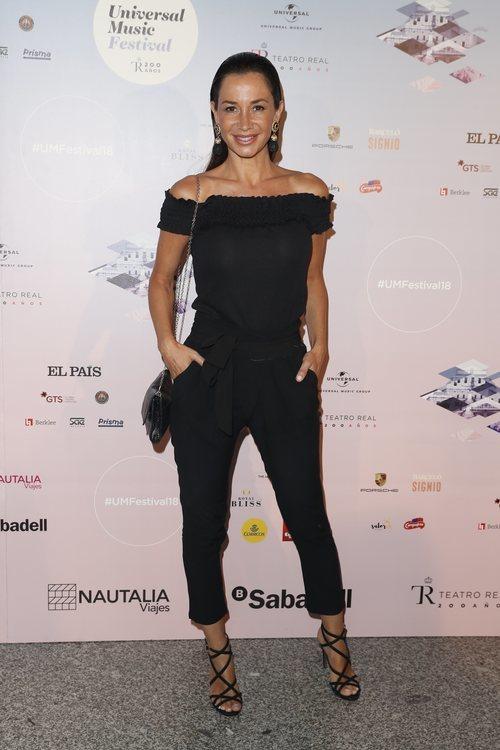 Cecilia Gómez con un 'total black' en el concierto de Niña Pastori 2018