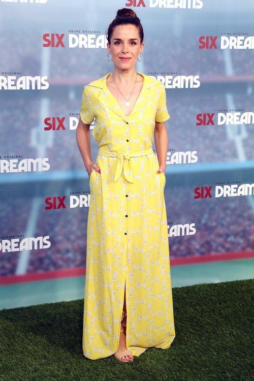 Nuria Gago con un vestido largo en la premire de 'Six Dreams' en Madrid 2018